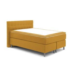 Horčicovožltá boxspring posteľ Vivonita Koso, 140 x 200cm