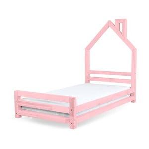 Detská ružová posteľ zborovicového dreva Benlemi Wally, 80×160cm