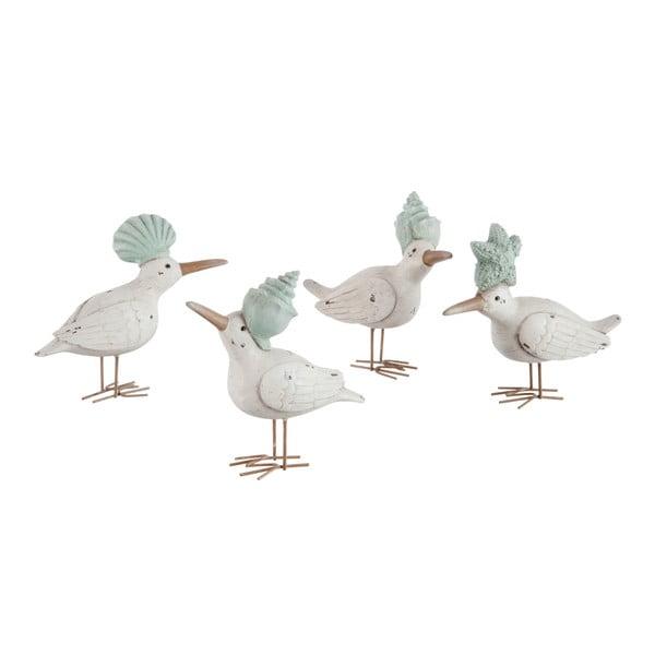 Sada 4 dekorácií Bird Shell