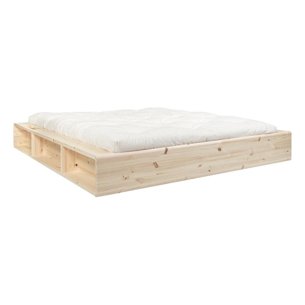 Dvojlôžková posteľ z masívneho dreva s úložným priestorom a futonom Comfort Karup Design, 160 x 200 cm