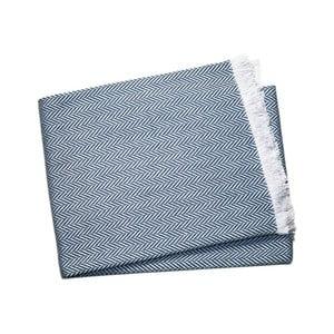 Námornícky modrý pléd s podielom bavlny Euromant Sky, 140×250 cm