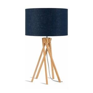 Stolová lampa s modrým tienidlom a konštrukciou z bambusu Good&Mojo Kilimanjaro