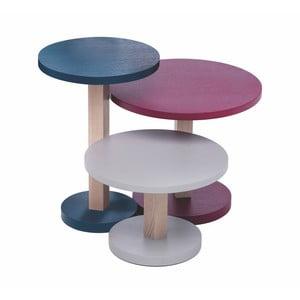 Sada 3 stolíkov z dubového dreva Another Brand Tavollini Purple