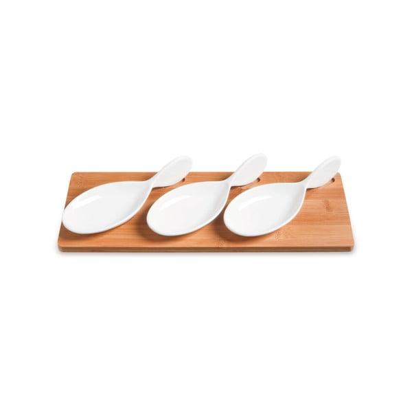 Servírovacie misky s bambusovým podnosom Mythos, 33 x 13 cm