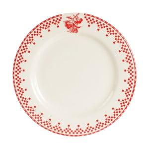 Červeno-biely dezertný tanier Comptoir deFamille Damier, 22cm