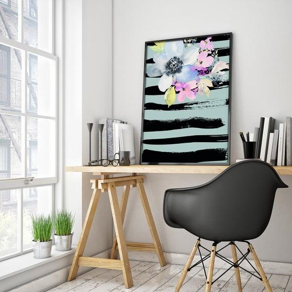 Plagát s kvetmi, modro-čierne pozadie, 30 x 40 cm