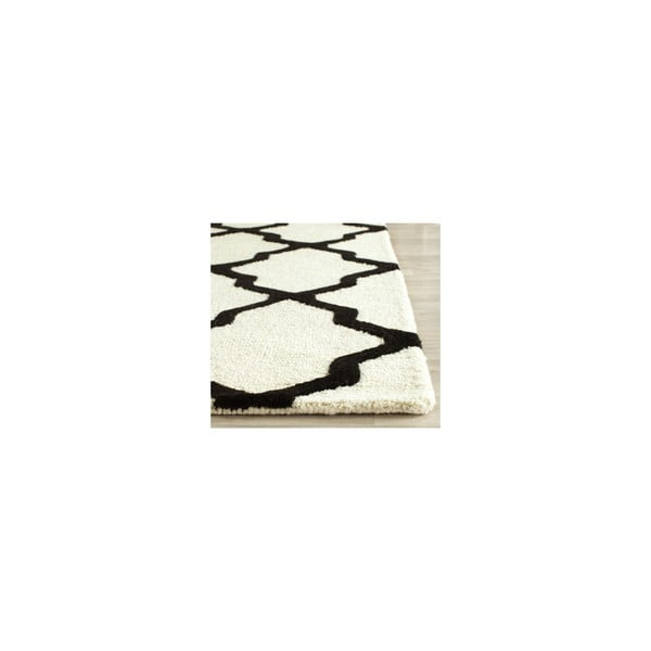 Vlnený koberec Ava 152x243 cm, biely/čierny