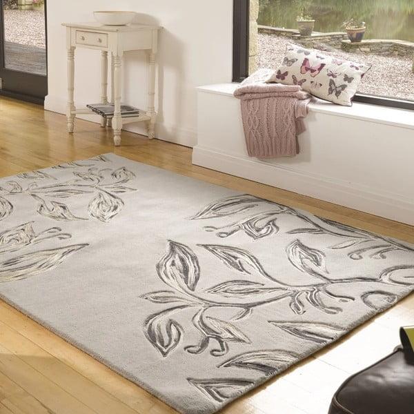 Vlnený koberec Florali 160 x 230 cm, sivý