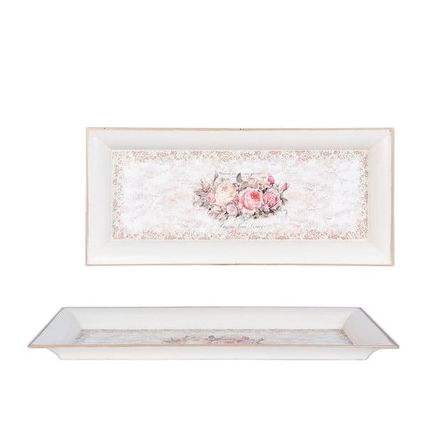 Podnos s ružičkami Clayre, 42x18 cm