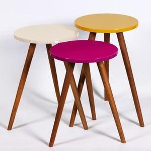 Sada 3 odkladacích stolíkov Kate Louise Round (fialový, krémový, žltý)