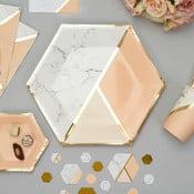 Sada 8 papierových tanierov Neviti Gold Colour Block Marble