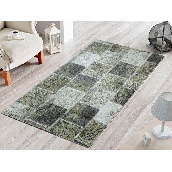 Koberec Dark Green Patchwork, 80x200 cm