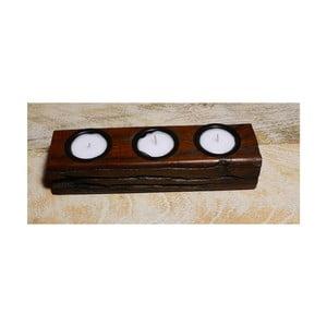 Svietnik z mangového dreva Indie, 23 cm
