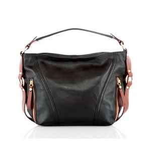 Čierno-hnedá kožená kabelka Glorious Black Lane