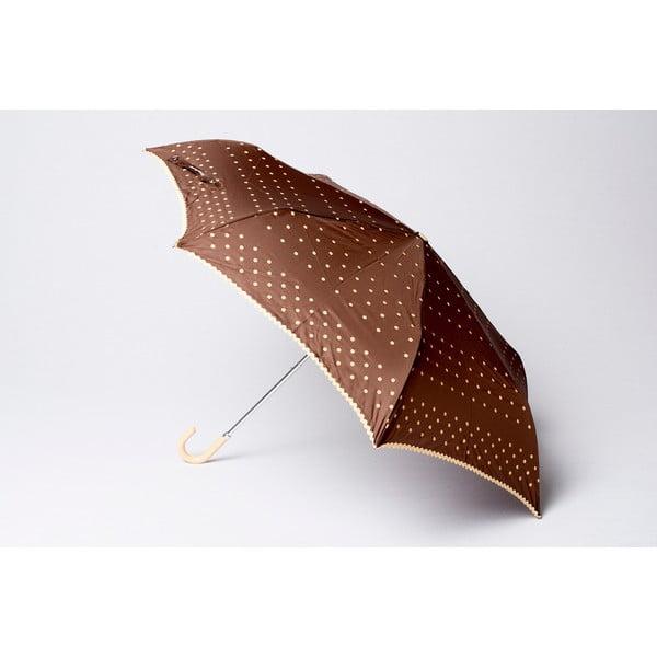 Skladací dáždnik Dots, hnedý