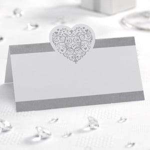 Sada 50 bielo-strieborných menoviek na stôl Neviti Vintage Romance