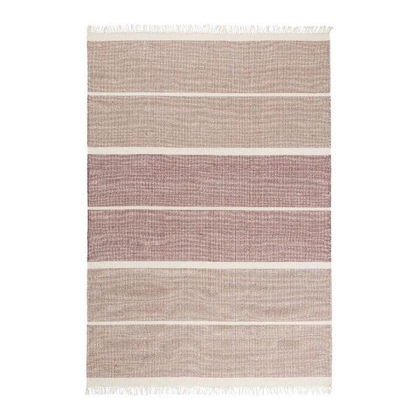 Ružový ručne tkaný vlnený koberec Linie Design Reita, 140×200cm