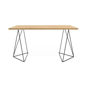 Pracovný stôl v dekore dubového dreva s čiernymi nohami TemaHome Flow, dĺžka 140cm