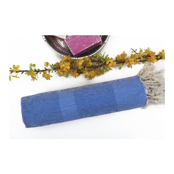 Hammam osuška s modrými pruhmi Begonville Myra no.6, 95 x 175 cm