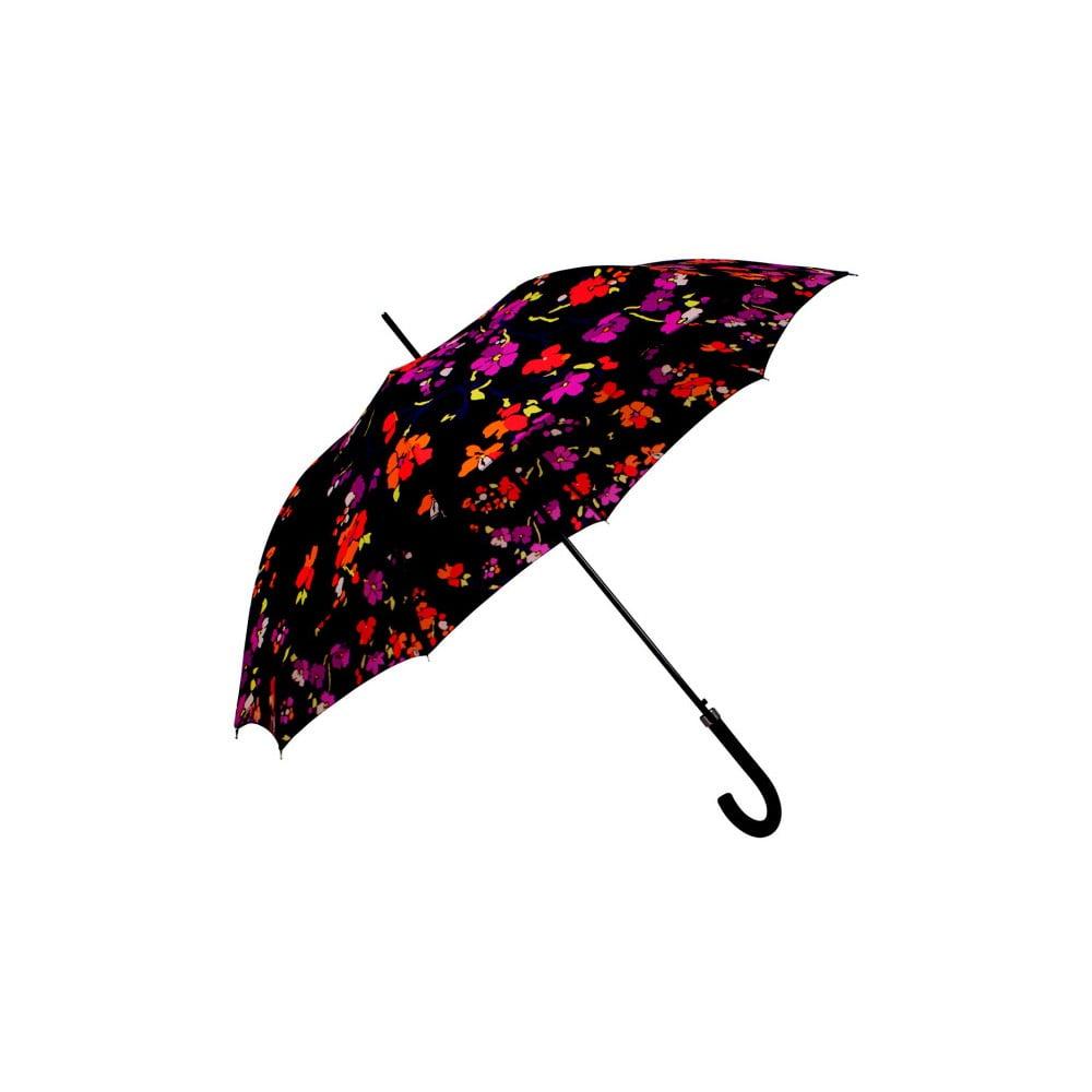 Čierny dáždnik s farebnými detailmi Flower, ⌀ 116 cm