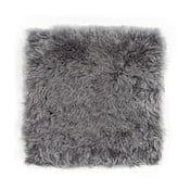 Sivý podsedák z ovčej kožušiny s krátkym vlasom Egle, 37 x 37 cm