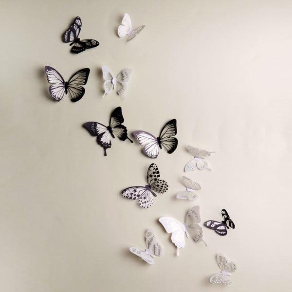 Sada 18 adhezívnych 3D samolepiek Ambiance Butterflies Chic