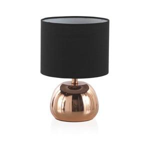 Čierna stolová lampa s kovovým podstavcom v medenej farbe Geese, výška 26 cm
