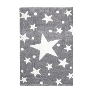 Sivý detský koberec Happy Rugs Star Constellation, 80x150cm