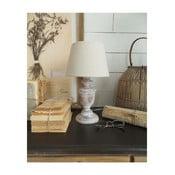 Biela drevená stolová lampa Orchidea Milano, výška 34 cm