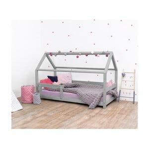 Sivá detská posteľ s bočnicami zo smrekového dreva Benlemi Tery, 90×160 cm
