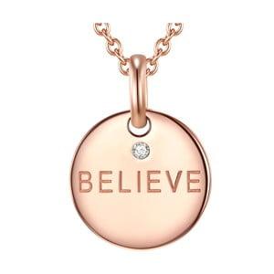 Strieborný pozlátený náhrdelník s pravým diamantom Tess Diamonds Believe, dĺžka 70 cm