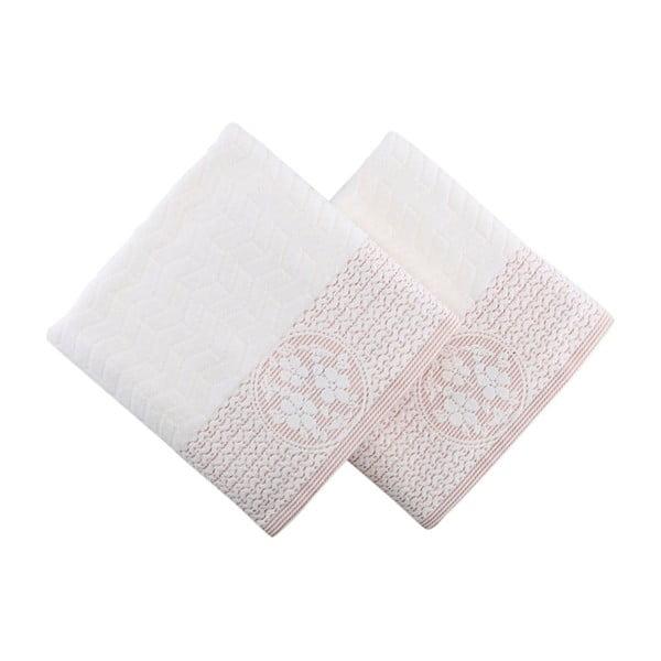 Sada 2 bielo-ružových uterákov Armada, 90 x 50 cm