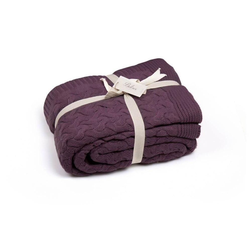 Tmavofialová deka Hannah, 170 × 130 cm