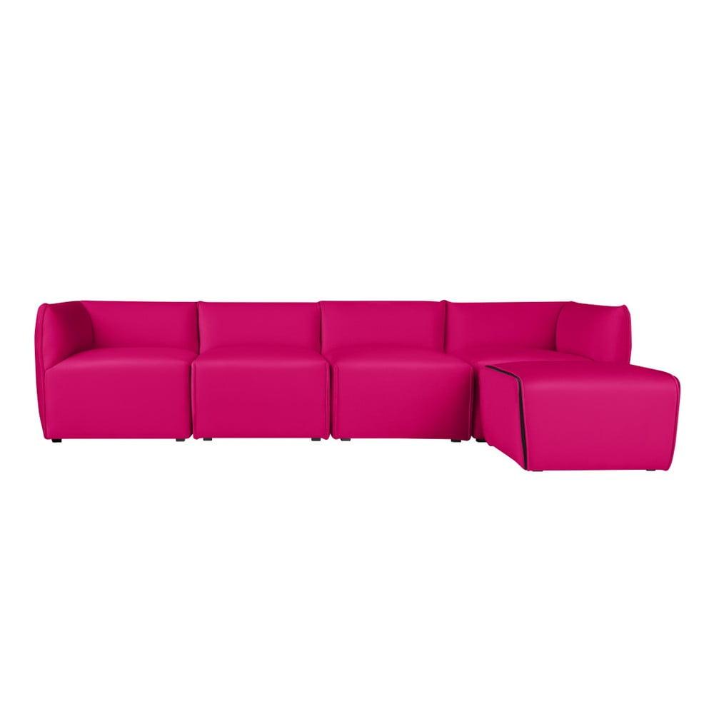 Ružová modulová štvormiestna pohovka s ležadlom Norrsken Ebbe