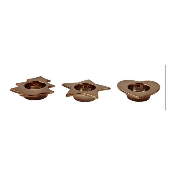 Sada 3 svietnikov KJ Collection Tealight Bronze