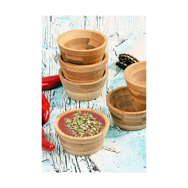 Sada 6 bambusových mištičiek na omáčky Kosova, Ø 6,5 cm