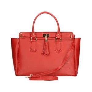 Červená kožená kabelka Chicca Borse Cabello
