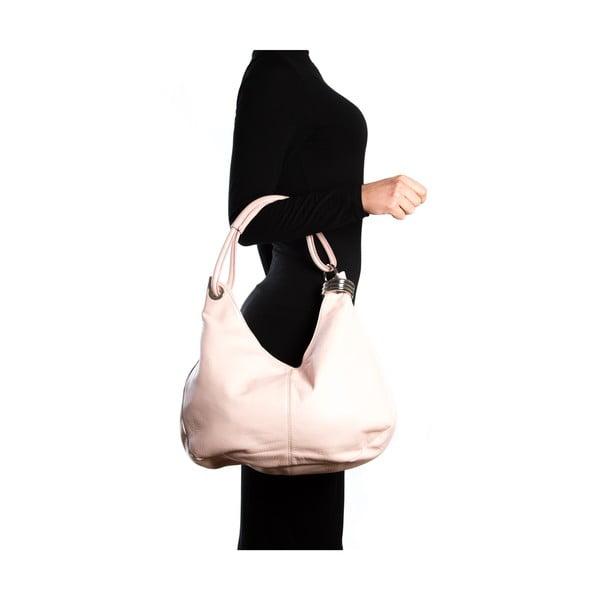 Kožená kabelka Hobo, ružová