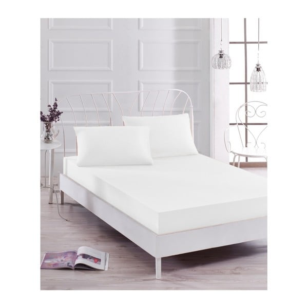 Set bielej elastickej plachty a 2 obliečok na vankúše na jednolôžko Basso Blanco, 160 × 200 cm