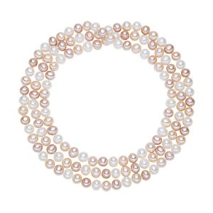 Bielo-ružový perlový náhrdelník Chakra Pearls, 90 cm