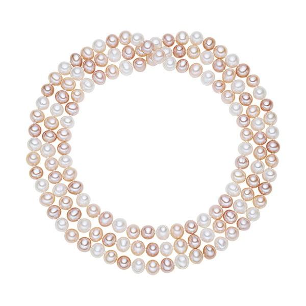 Bielo-ružový perlový náhrdelník Chakra Pearls, 120 cm