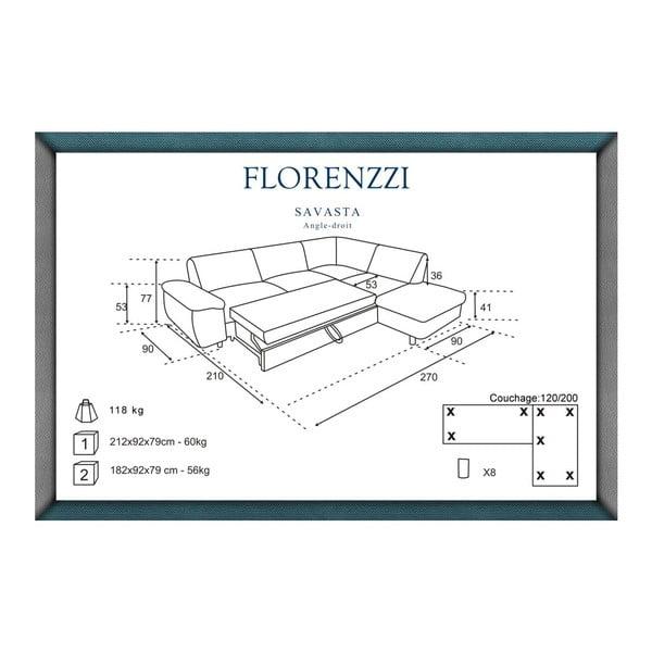 Tmavomodrá rozkladacia pohovka Florenzzi Savasta Blue s leňoškou na pravej strane