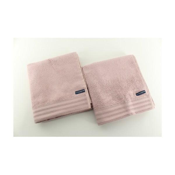 Sada 2 osušiek US Polo Los Angeles Pink, 50x100 cm