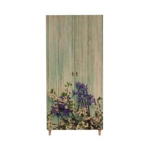 Drevená šatníková skriňa Ursula Flower