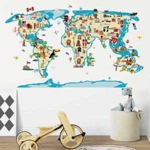 Nástenná samolepka Ambiance World Map Ethnic Tour