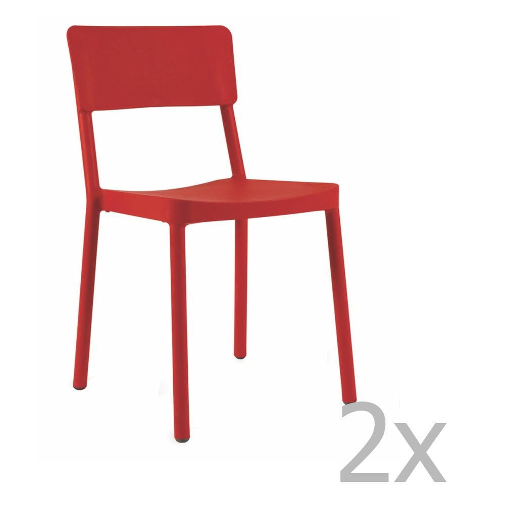 Sada 2 červených záhradných stoličiek Resol Lisboa