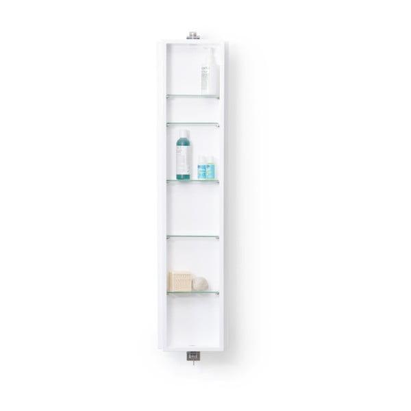 Biela kúpeľňová skrinka so zrkadlom Wireworks Domain, výška 110cm