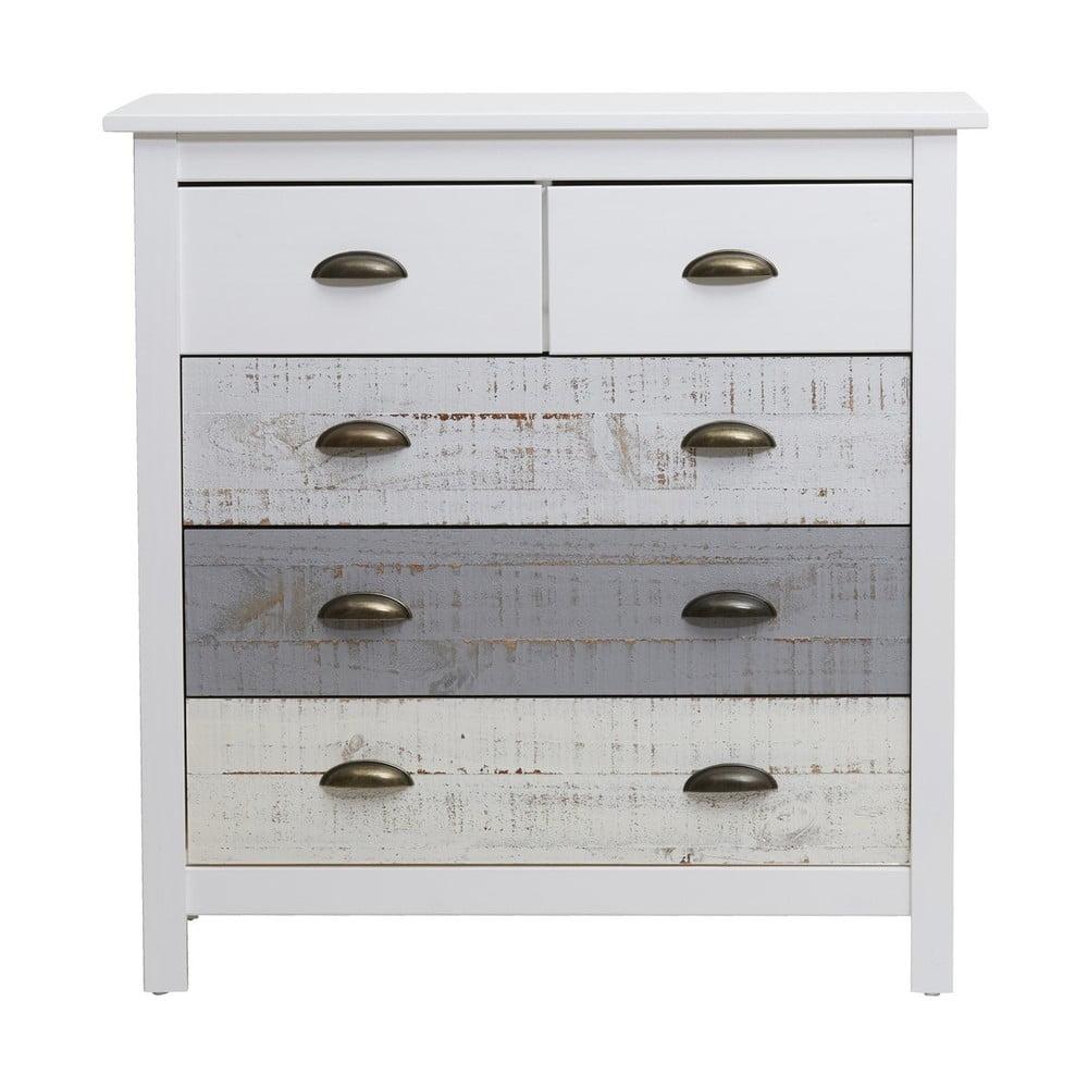 Bielo-sivá komoda so 4 zásuvkami Marckeric Romantica, 79 × 80 cm