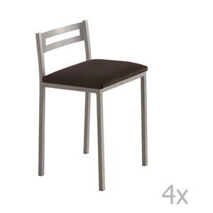 Sada 4 nízkych čiernych barových stoličiek Pondecor Elias