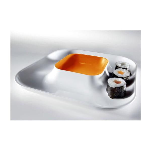 Oranžový tanier na jednohubky Entity, 21x21cm